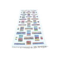 Ivory Runner Flat Weave Kilim Cotton and Sari Silk Hand Woven Rug