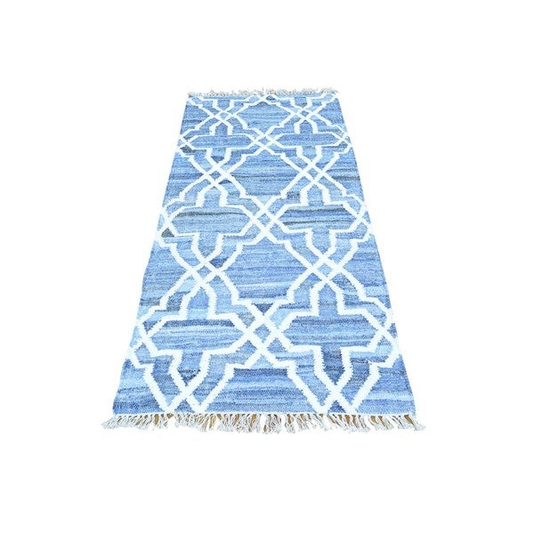 Blue Denim Jeans Kilim Runner Cotton and Sari Silk Rug