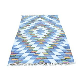 Multicolor Flat Weave Kilim Denim Jeans Cotton and Sari Silk Rug (3'5 x 5'6)