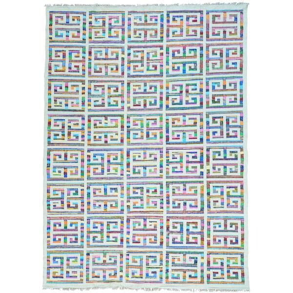 Multicolor Geometric Design Flat Weave Kilim Hand Woven Oriental Rug - 10' x 14'