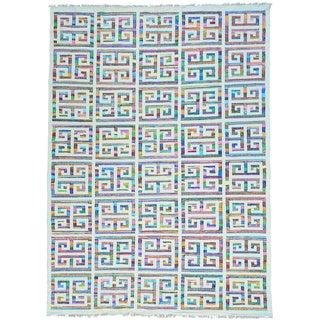 Multicolor Geometric Design Flat Weave Kilim Hand Woven Oriental Rug (10' x 14')