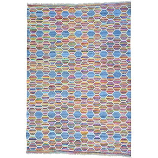 Multicolor Hand Woven Kilim Cotton and Sari Silk Flat Weave Rug (9'10 x 14'3)