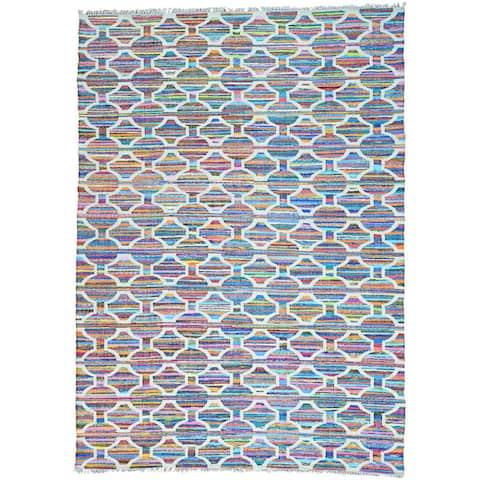 Multicolor Flat Weave Kilim Geometric Design Hand Woven Oriental Rug