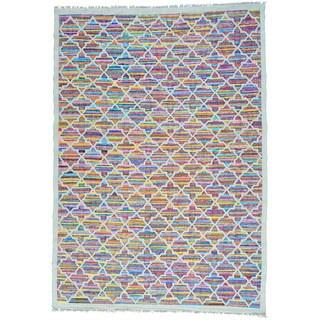 Multicolor Flat Weave Kilim Hand Woven Cotton and Sari Silk Rug (9'9 x 14')