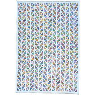 Multicolor Flat Weave Kilim Cotton and Sari Silk Hand Woven Rug (9'10 x 14')