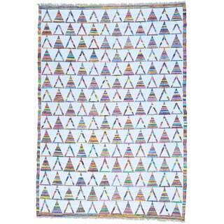Ivory Hand Woven Cotton and Sari Silk Flat Weave Kilim Rug (9'10 x 14')