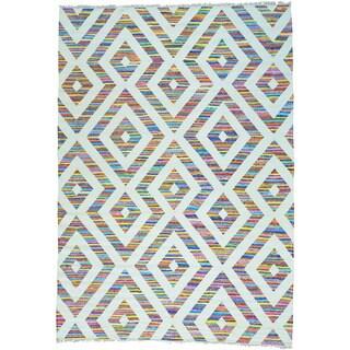 Cotton and Sari Silk Flat Weave Kilim Handwoven Oriental Rug (10' x 14')