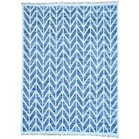Blue Denim Jeans Kilim Cotton and Sari Silk Hand Woven Rug
