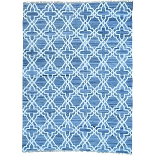 Blue Hand Woven Denim Jeans Kilim Cotton and Sari Silk Rug (8'10 x 12'1)