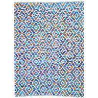 Multicolor Flat Weave Kilim Cotton and Sari Silk Hand Woven Rug
