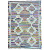 Multicolor Cotton and Sari Silk Kilim Geometric Design Hand Woven Rug - Multi