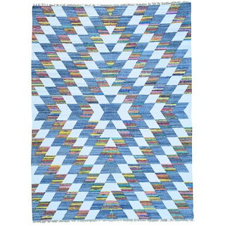 Multicolor Dazzling Kilim Flat Weave Hand Woven Colorful Rug (8'10 x 11'10)