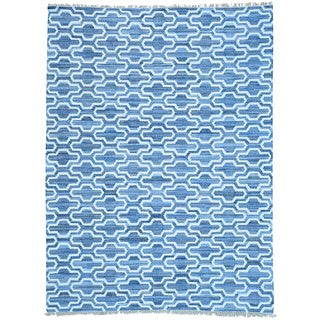 Blue Denim Jeans Kilim Handwoven Cotton and Sari Silk Rug (9' x 12')