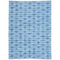 Blue Denim Jeans Kilim Handwoven Cotton and Sari Silk Rug