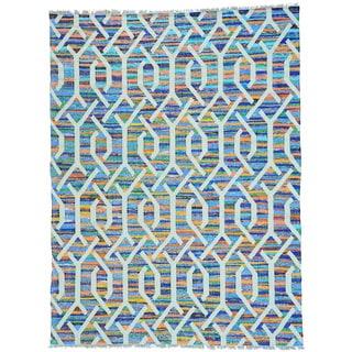 Multicolor Hand Woven Flat Weave Kilim Cotton and Sari Silk Oriental Rug (9' x 12')
