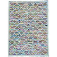 Multicolor Geometric Design Kilim Hand Woven Cotton and Sari Silk Rug