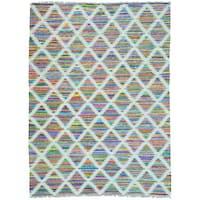 Multicolor Cotton and Sari Silk Colorful Kilim Hand Woven Oriental Rug (9' x 12')