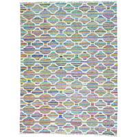 Multicolor Hand Woven Colorful Kilim Cotton and Sari Silk Oriental Rug (9' x 12')