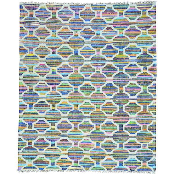 Multicolor Colorful Flat Weave Kilim Cotton and Sari Silk Oriental Rug (8' x 9'6)