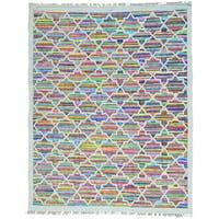 Multicolor Cotton and Sari Silk Flat Weave Kilim Hand Woven Oriental Rug