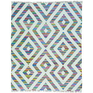 Multicolor Cotton and Sari Silk Flat Weave Kilim Geometric Design Rug (8' x 10')