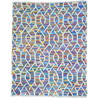 Multicolor Multicolored Flat Weave Kilim Cotton and Sari Silk Rug (8' x 10')