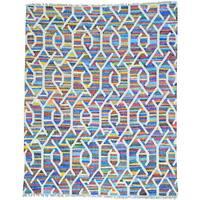Multicolor Multicolored Flat Weave Kilim Cotton and Sari Silk Rug
