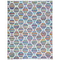 Multicolor Flat Weave Kilim Cotton and Sari Silk Hand Woven Oriental Rug - Multi