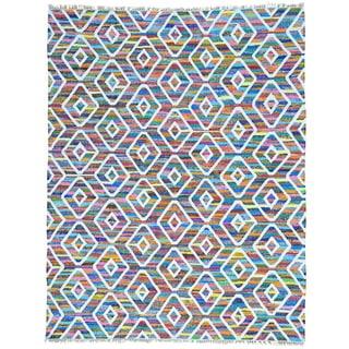 Multicolor Handwoven Flatweave Kilim Cotton and Sari Silk Oriental Rug (7'9 x 10')