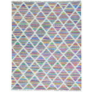 Multicolor Cotton and Sari Silk Colorful Flat Weave Kilim Hand Woven Rug (8' x 10')