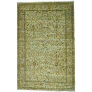 Gold Tabriz Revival 300 KPSI Oversize Hand Knotted Oriental Rug (11'8 x 18')