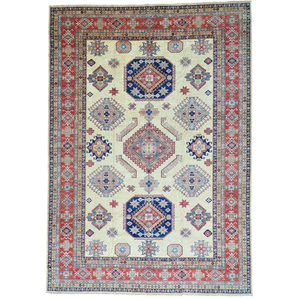 Ivory Oversize Super Kazak Pure Wool Hand Knotted Oriental Rug (11'8 x 16'6)