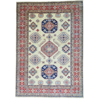 Ivory Oversize Super Kazak Pure Wool Hand Knotted Oriental Rug (11'8 x 16'6)