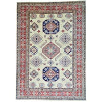Ivory Oversize Super Kazak Pure Wool Hand Knotted Oriental Rug