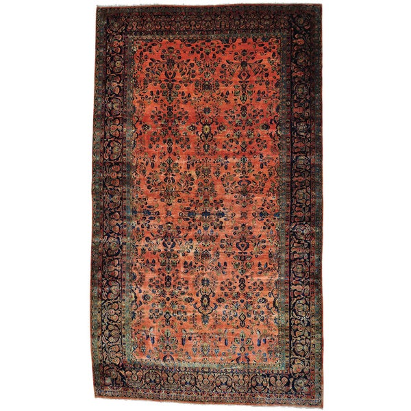 Pink Antique Persian Maharajan Sarouk Full Pile Oversize Rug
