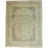 Ivory Antique Persian Tabriz Mansion Size Oriental Rug (13'2 x 16'9)
