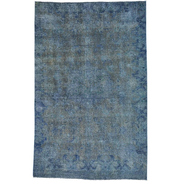 Blue Overdyed Persian Hand Knotted Pure Wool Oriental Rug