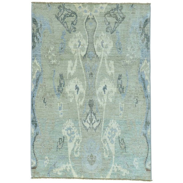 Grey Ikat Design Peshawar Pure Wool Hand Knotted Oriental Rug