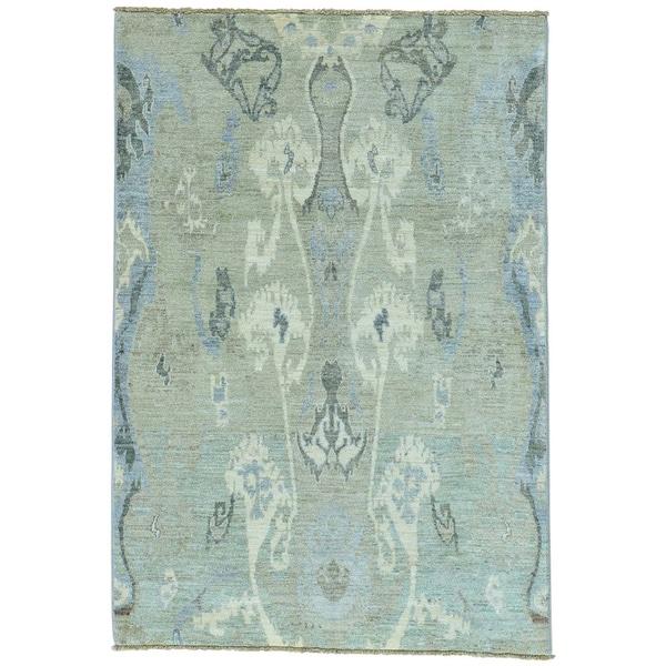 Grey Ikat Design Peshawar Pure Wool Hand Knotted Oriental Rug - 4'2 x 6'