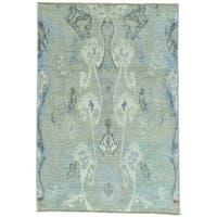 Grey Ikat Design Peshawar Pure Wool Hand Knotted Oriental Rug - 4'2 x 6'