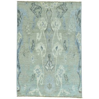 Grey Ikat Design Peshawar Pure Wool Hand Knotted Oriental Rug (4'2 x 6')