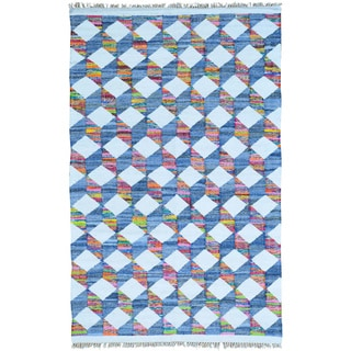 Multicolor Flat Weave Kilim Cotton and Sari Silk Hand Woven Oriental Rug (6' x 9')