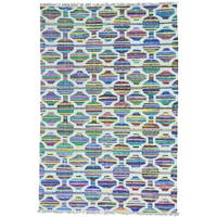 Hand Woven Flat Weave Kilim Cotton and Sari Silk Oriental Rug - Multi