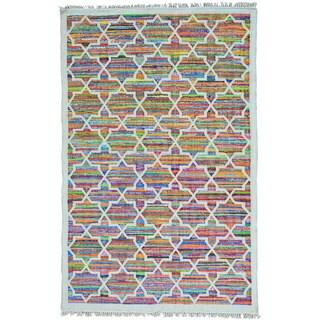 Multicolor Dazzling Flat Weave Kilim Hand Woven Oriental Rug (6' x 9'1)