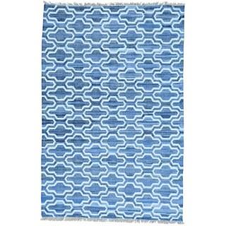 Blue Cotton and Sari Silk Flatweave Kilim Denim jeans Handwoven Rug (6' x 9'1)