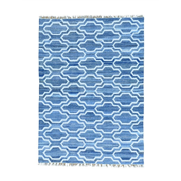 Blue Denim Jeans Flat Weave Kilim Cotton and Sari Silk Hand Woven Rug - 5' x 7'