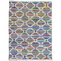 Multicolor Flatweave Kilim Cotton and Sari Silk Hand Woven Oriental Rug