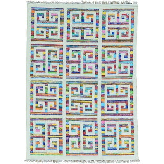 Multicolor Flat Weave Cotton and Sari Silk Hand Woven Kilim Oriental Rug (5' x 7')