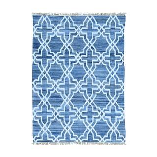 Blue Hand Woven Cotton and Sari Silk Denim Jeans Kilim Oriental Rug (5' x 7')