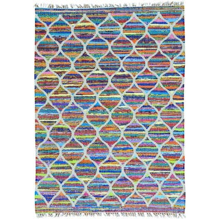 Multicolor Hand Woven Multicolored Kilim Oriental Cotton and Sari Silk Rug (5' x 7')